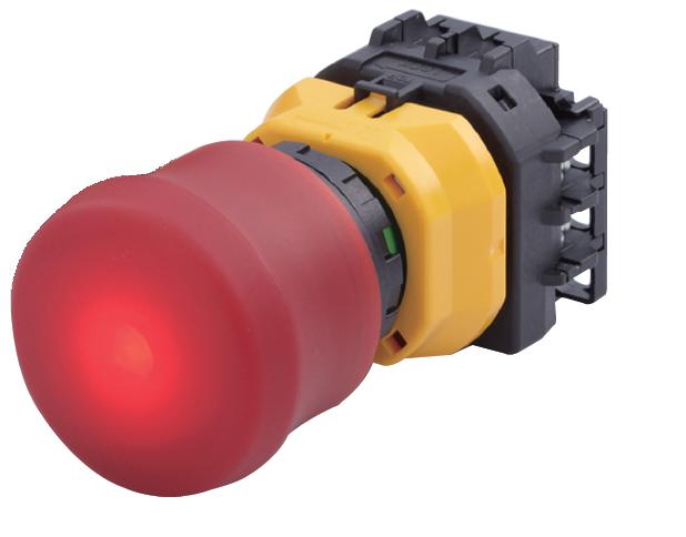 Nouzove tlačítko s mechanickou indikací XW s LED od IDEC