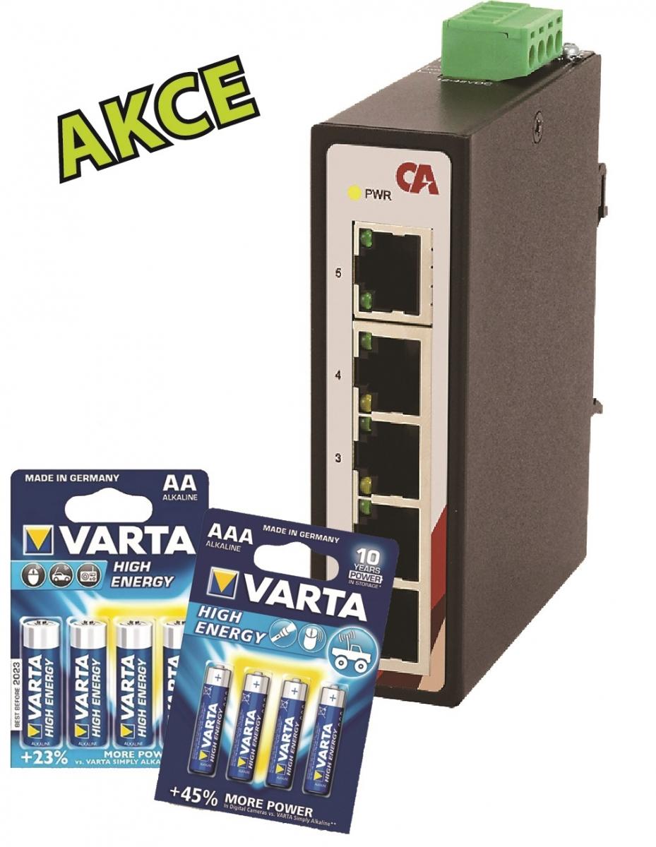 Průmyslový Ethernet switch 5 portový CETU-0500 + VARTA AA + VARTA AAA