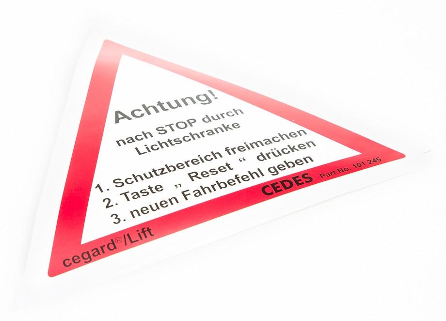 Varovný trojúhelník  cegard/Lift reset